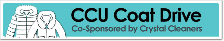 CCU Coat Drive Co-sponsored by Crystal Cleaners